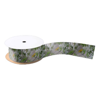 Yellow Warbler and Spring Blossoms Satin Ribbon