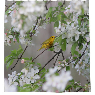 Yellow Warbler and Spring Blossoms Shower Curtain