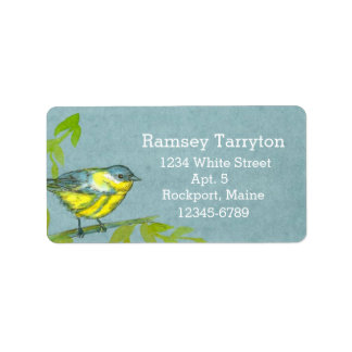 Yellow Warbler Bird Gray Watercolor Label