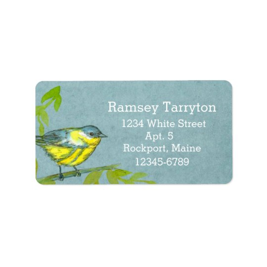 Yellow Warbler Bird Grey Watercolor Label
