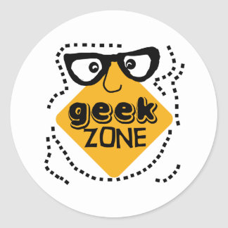 Yellow Warning Geek Zone Classic Round Sticker