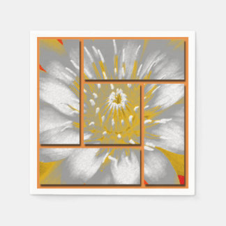 Yellow Water Lily Square Pattern Design Paper Napkin