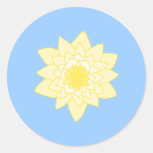 Yellow Water Lily. Round Sticker
