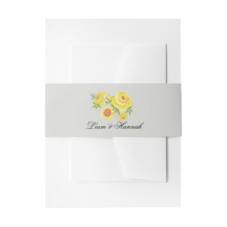 Yellow Watercolor Floral Wedding Invitations Invitation Belly Band