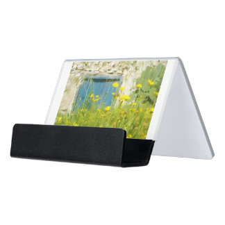 Yellow watercolor flowers desk business card holder