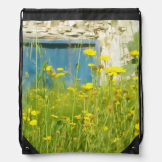 Yellow watercolor flowers drawstring bag