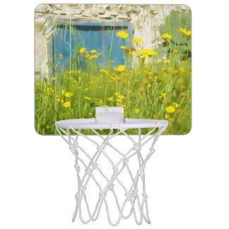 Yellow watercolor flowers mini basketball hoop