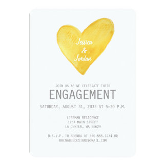 Yellow Watercolor Heart Engagement Invite