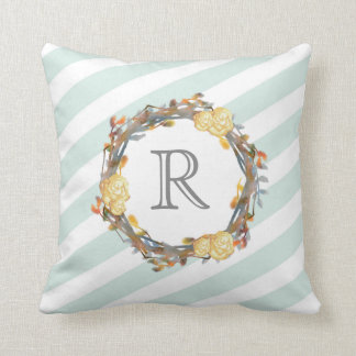 Yellow Watercolor Roses On A Twig Wreath Monogram Cushion