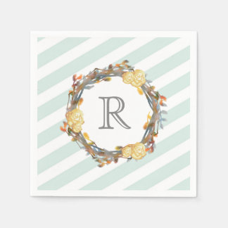 Yellow Watercolor Roses On A Twig Wreath Monogram Disposable Serviettes