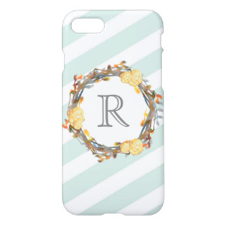 Yellow Watercolor Roses On A Twig Wreath Monogram iPhone 8/7 Case
