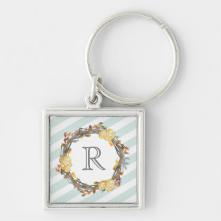 Yellow Watercolor Roses On A Twig Wreath Monogram Key Ring