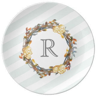 Yellow Watercolor Roses On A Twig Wreath Monogram Plate