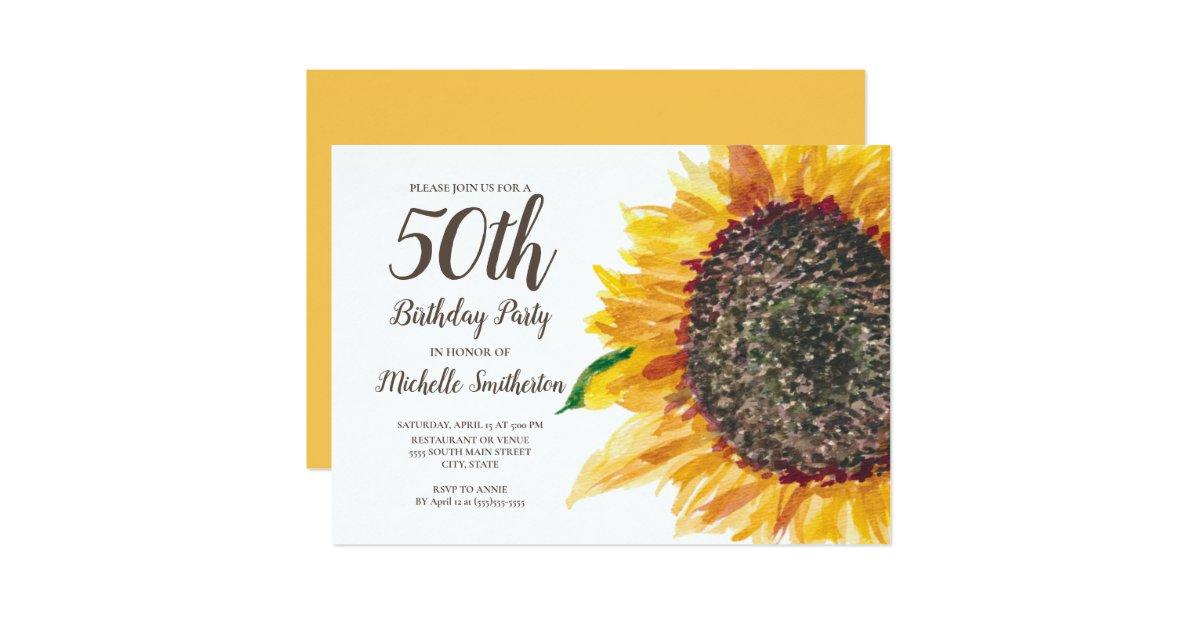 Yellow Watercolor Sunflower 50th Birthday Women Invitation ...