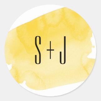 Yellow Watercolor Wash Wedding Sticker