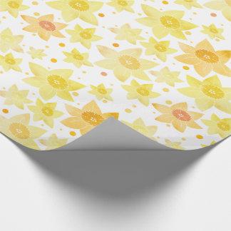 Yellow Watercolour Daffodil & Dots Pattern