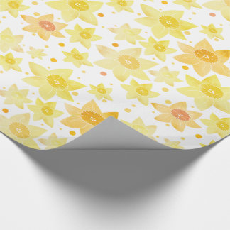 Yellow Watercolour Daffodil & Dots Pattern Wrapping Paper