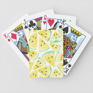 Yellow watermelon slices pattern bicycle playing cards
