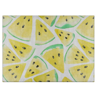 Yellow watermelon slices pattern cutting board