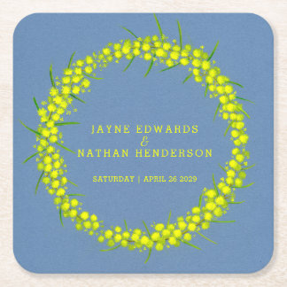 Yellow wattle flower watercolor art coasters