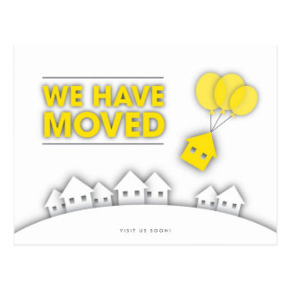 Yellow We Have Moved Houses Postcard