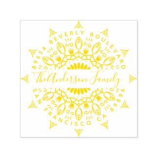 Yellow Wealth & Crowns Mandala Return Address Self-inking Stamp