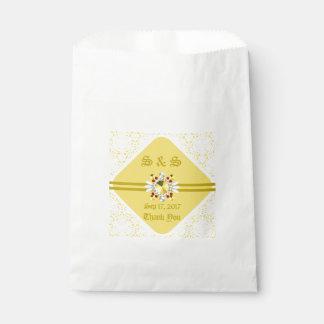 Yellow Wedding Favor Bag w/ Gold Fonts