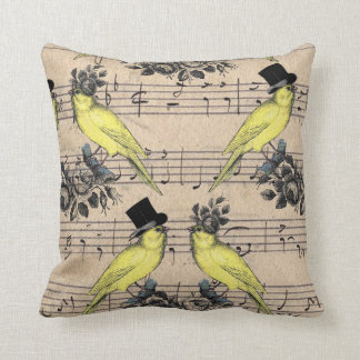 Yellow Wedding French Birds Pillow On Music Sheet