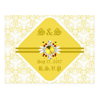 Yellow Wedding Postcard with Gold Fonts