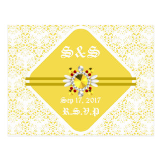 Yellow Wedding Postcard with White Fonts