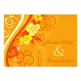 Yellow Wedding Roses Orange 13 Cm X 18 Cm Invitation Card
