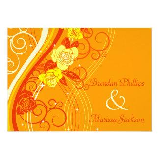 Yellow Wedding Roses Orange Invites