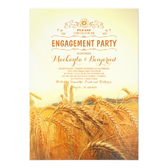 yellow wheat field rustic vintage engagement party 13 cm x 18 cm invitation card
