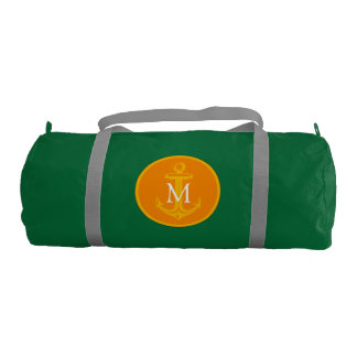 Yellow White Anchor and Monogram Gym Duffel Bag