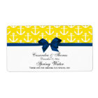 Yellow, White Anchors Navy Bow Party Water Label