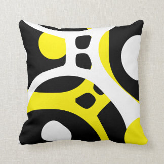 Yellow White and Black abstract pattern pillow