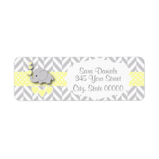 Yellow, White and Gray Elephant Baby Shower Return Address Label