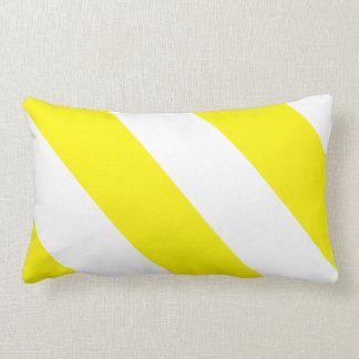 Yellow White Attention Warning Stripes Lumbar Cushion
