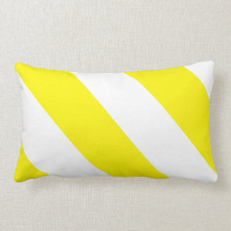 Yellow White Attention Warning Stripes Lumbar Pillow