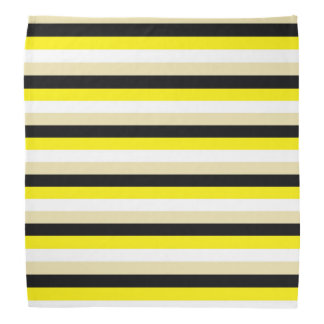 Yellow, White, Beige and Black Stripes Bandana