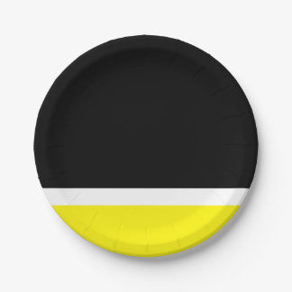 Yellow white black colorblock paper plate