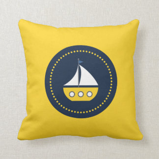 Yellow White Blue Nautical Sail Boat Pillow