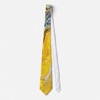 Yellow white blue swirl Tie