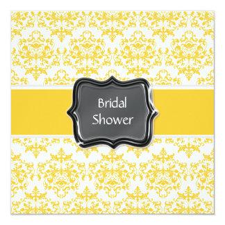 Yellow white bridal shower personalize 13 cm x 13 cm square invitation card