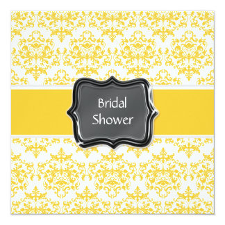 Yellow white bridal shower personalize card