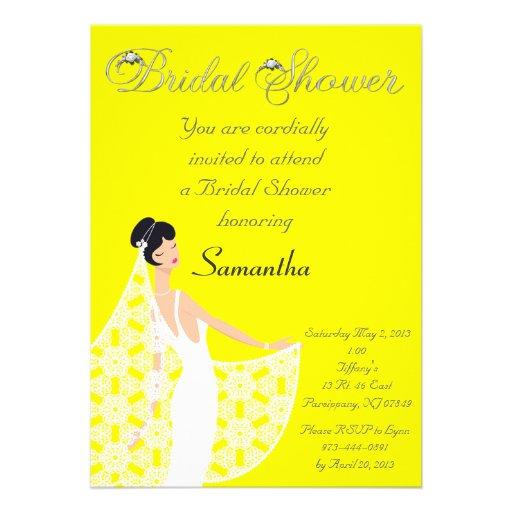 Yellow & White Bride Bridal Shower Invitation