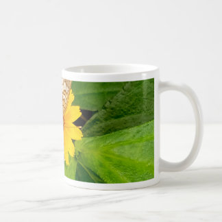 yellow white butterfly moth coffee mug