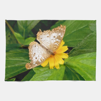 yellow white butterfly moth tea towel