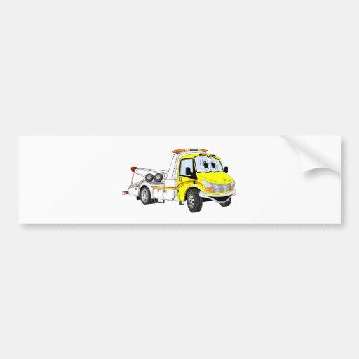 Yellow White Cartoon Tow Truck Bumper Sticker