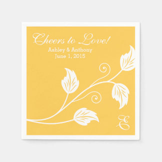 Yellow White Cheers to Love Personalized Wedding Paper Serviettes